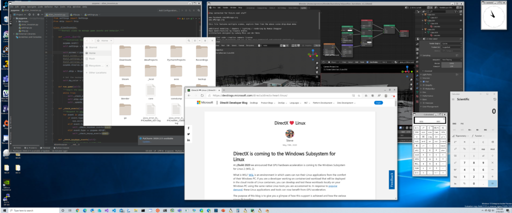 Mix of application from both WSLg and Windows