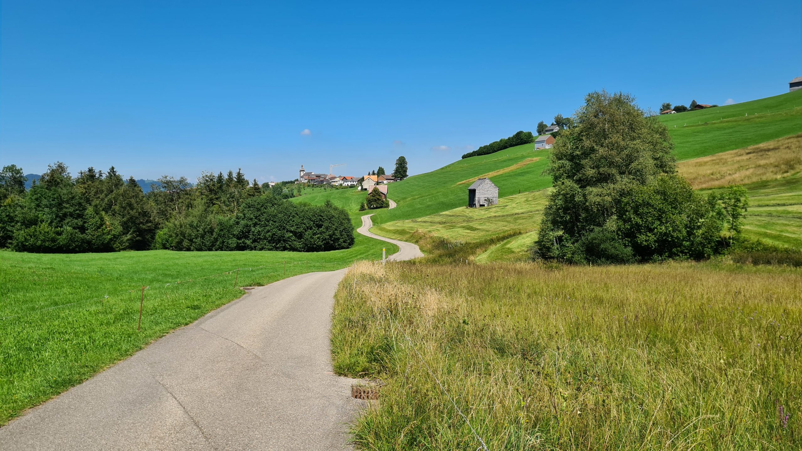 Path weaving through lush landscape with a village in the far distance and clear blue sky